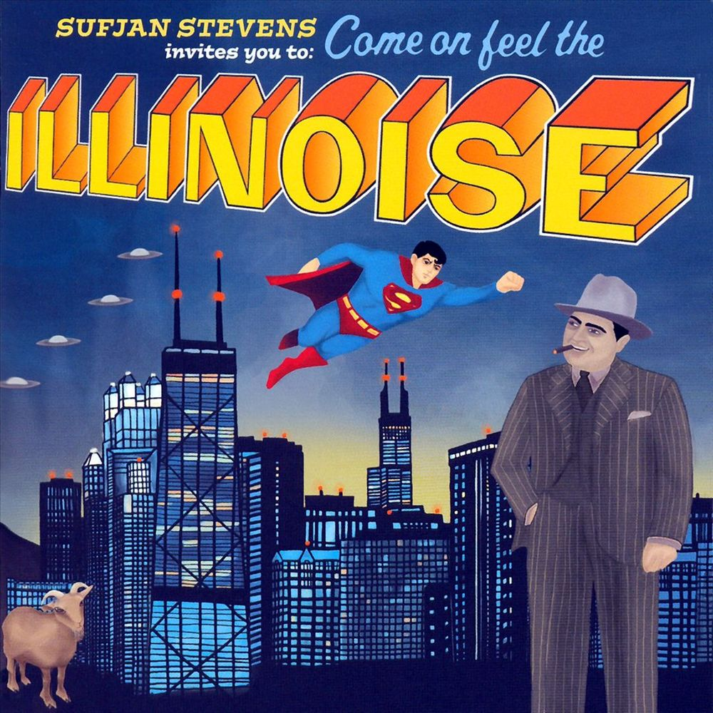 The album art of Sufjan Stevens' Illinois album, which features a stylized hand-drawn backdrop of Chicago, a picture of Superman, a picture of an old-school gangster in a pinstripe suit, a goat, and four alien flying saucers.